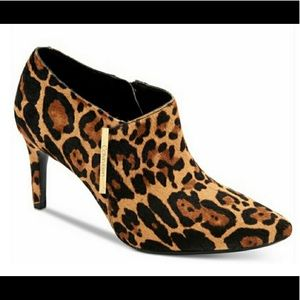NWT Calvin Klein Leopard Hair Calf side Zip bootie